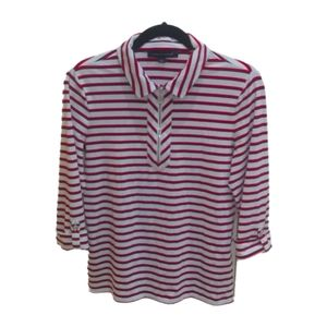 Tommy Hilfiger Women's Stripped Polo Top White S